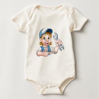 Mechanic or Plumber Woman Cartoon Character Baby Bodysuit