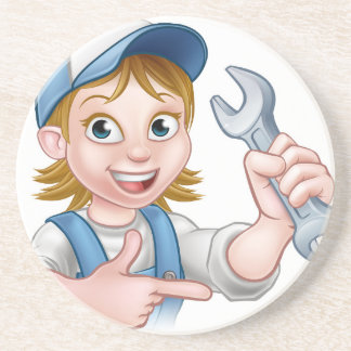 Mechanic or Plumber Woman Cartoon Character Beverage Coaster