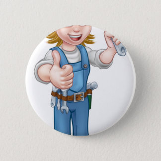 Mechanic or Plumber Woman Holding Spanner 2 Inch Round Button