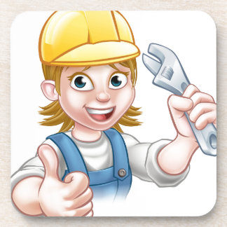 Mechanic or Plumber Woman Holding Spanner Beverage Coasters