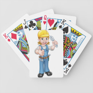 Mechanic or Plumber Woman Holding Spanner Bicycle Playing Cards
