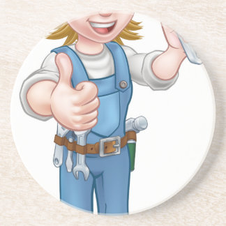Mechanic or Plumber Woman Holding Spanner Coaster