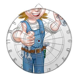 Mechanic or Plumber Woman Holding Spanner Dartboard