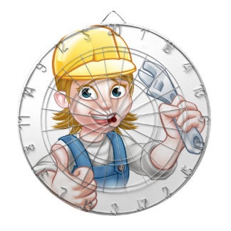 Mechanic or Plumber Woman Holding Spanner Dartboard