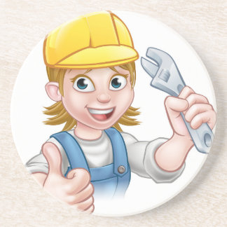 Mechanic or Plumber Woman Holding Spanner Drink Coaster