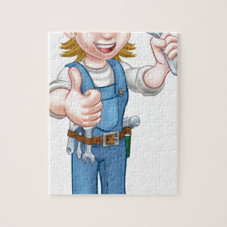 Mechanic or Plumber Woman Holding Spanner Jigsaw Puzzle
