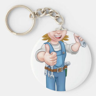 Mechanic or Plumber Woman Holding Spanner Keychain