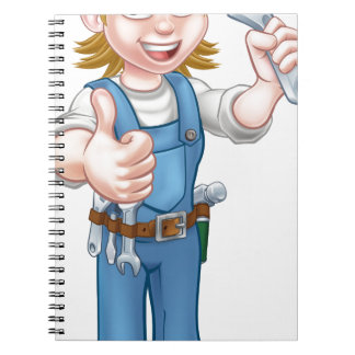 Mechanic or Plumber Woman Holding Spanner Spiral Notebook