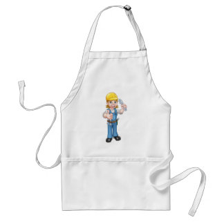 Mechanic or Plumber Woman Holding Spanner Standard Apron