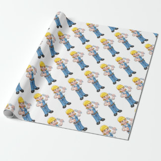 Mechanic or Plumber Woman Holding Spanner Wrapping Paper