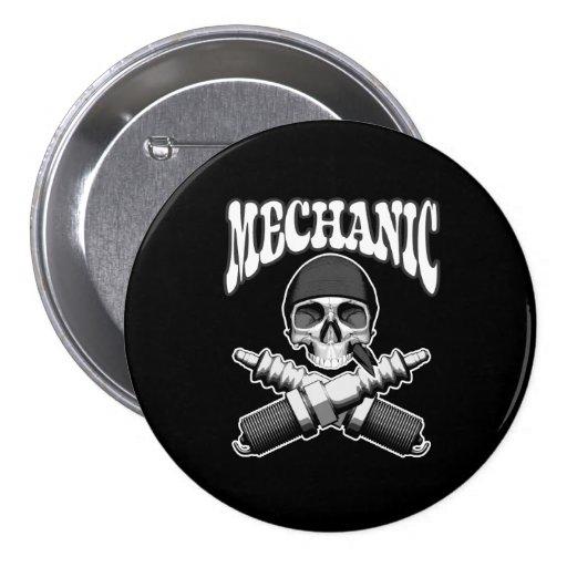 Mechanic Skull Spark plugs Pinback Buttons