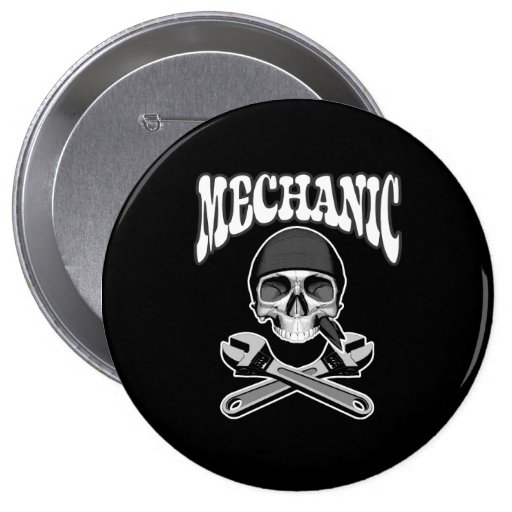 Mechanic Skull Wrenches Button