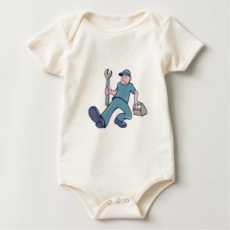 Mechanic Spanner Foot Forward Cartoon Baby Bodysuit