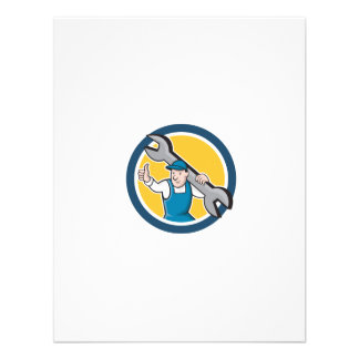 Mechanic Thumbs Up Spanner Circle Cartoon Personalized Invite