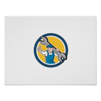 Mechanic Thumbs Up Spanner Circle Cartoon Posters