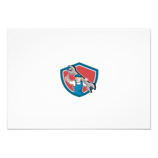 Mechanic Thumbs Up Spanner Shield Cartoon Custom Announcement