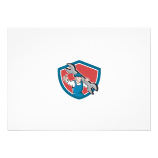 Mechanic Thumbs Up Spanner Shield Cartoon Personalized Announcement