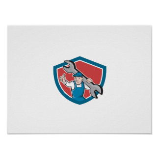Mechanic Thumbs Up Spanner Shield Cartoon Posters