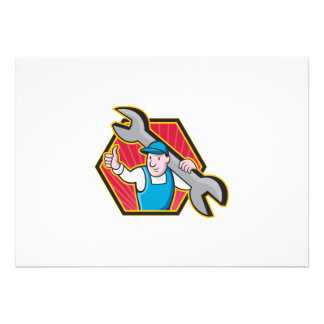 Mechanic With Spanner Thumbs Up Personalized Invites