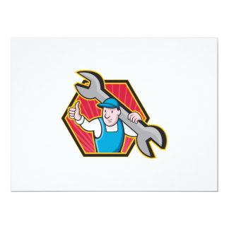 Mechanic With Spanner Thumbs Up Personalized Invitation
