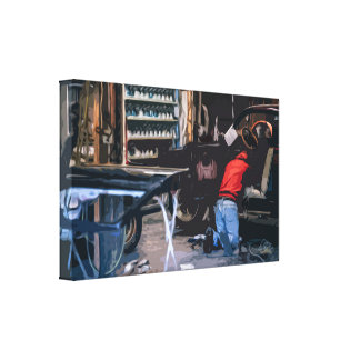 Mechanic Working on an Old Vintage Car Canvas Print