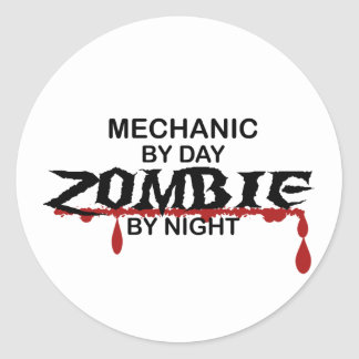 Mechanic Zombie Round Sticker