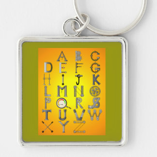 MECHANICAL ALPHABET Silver-Colored SQUARE KEYCHAIN
