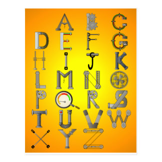 MECHANICAL ALPHABET POSTCARD