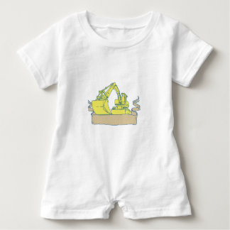 Mechanical Digger Excavator Ribbon Scroll Drawing Baby Romper