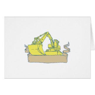 Mechanical Digger Excavator Ribbon Scroll Drawing Card
