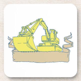 Mechanical Digger Excavator Ribbon Scroll Drawing Coaster