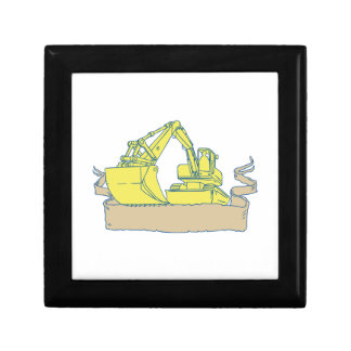 Mechanical Digger Excavator Ribbon Scroll Drawing Gift Box