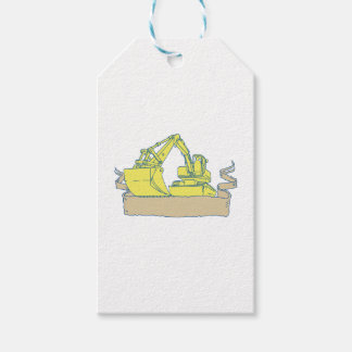 Mechanical Digger Excavator Ribbon Scroll Drawing Gift Tags