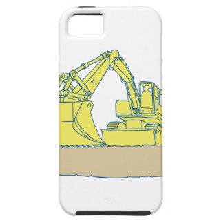 Mechanical Digger Excavator Ribbon Scroll Drawing iPhone 5 Cover