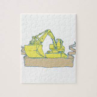 Mechanical Digger Excavator Ribbon Scroll Drawing Jigsaw Puzzle