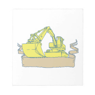 Mechanical Digger Excavator Ribbon Scroll Drawing Notepad