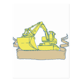 Mechanical Digger Excavator Ribbon Scroll Drawing Postcard