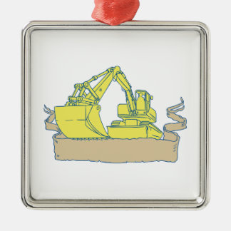 Mechanical Digger Excavator Ribbon Scroll Drawing Silver-Colored Square Ornament