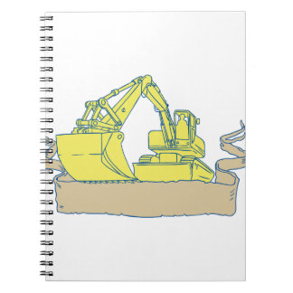 Mechanical Digger Excavator Ribbon Scroll Drawing Spiral Notebook
