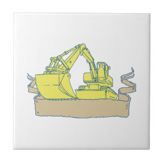 Mechanical Digger Excavator Ribbon Scroll Drawing Tiles