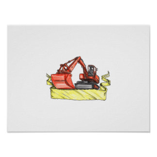Mechanical Digger Excavator Ribbon Tattoo Poster