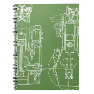 MECHANICAL DRAWING VINTAGE BLUEPRINT WHITE CUSTOM NOTEBOOKS
