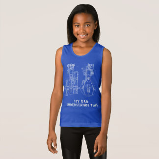 MECHANICAL DRAWING VINTAGE BLUEPRINT WHITE CUSTOM TANK TOP