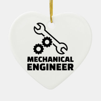 Mechanical engineer ceramic heart ornament