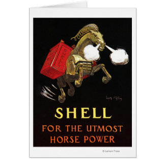 Mechanical Horse with Shell Oil Greeting Card