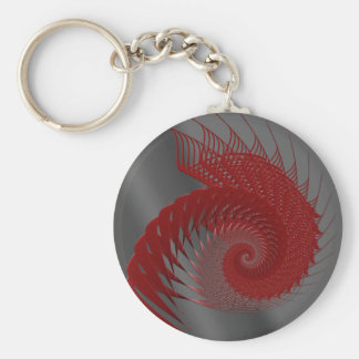 Mechanical Shell. Red and Gray Digital Art. Keychain