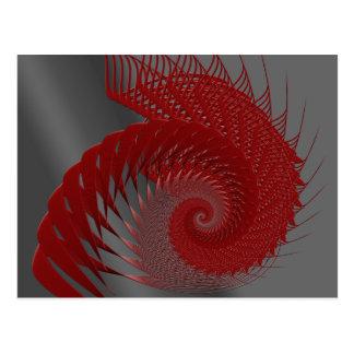 Mechanical Shell. Red and Gray Digital Art. Postcard