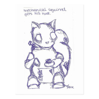 Mechanical Squirrel Gets His Nut Postcard