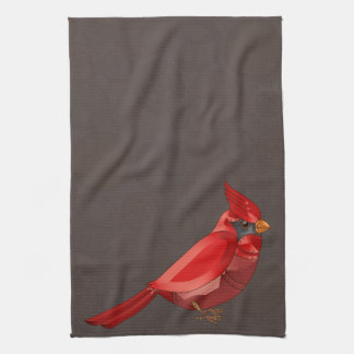 Mechanical Steampunk Cardinal in Faux Metallics Kitchen Towels