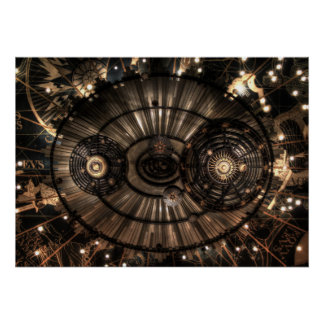 Mechanical Steampunk Zodiac Constellations Poster